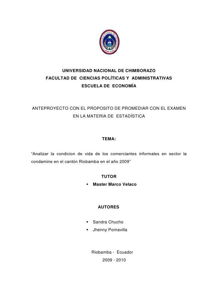 UNIVERSIDAD NACIONAL DE CHIMBORAZO<br />FACULTAD DE  CIENCIAS POLÍTICAS Y  ADMINISTRATIVAS<br />ESCUELA DE  ECONOMÍA<br />...