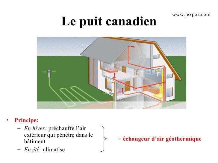 Le puit canadien <ul><li>Principe: </li></ul><ul><ul><li>En hiver:  préchauffe l'air extérieur qui pénètre dans le bâtimen...