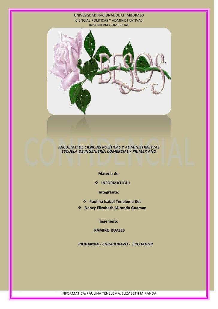 FACULTAD DE CIENCIAS POLÍTICAS Y ADMINISTRATIVAS<br />ESCUELA DE INGENIERÍA COMERCIAL / PRIMER AÑO<br />Materia de: <br />...