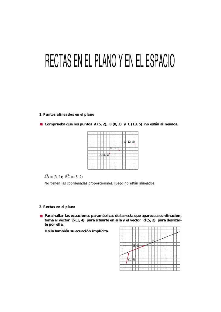 RECTAS EN EL PLANO Y EN EL ESPACIO  1. Puntos alineados en el plano     Comprueba que los puntos A (5, 2), B (8, 3) y C (1...