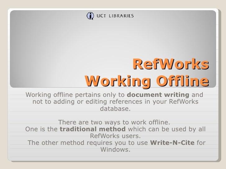 RefWorks Working Offline
