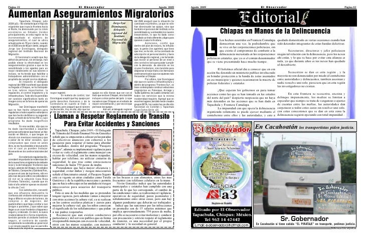 Revista El Observador Tapachula Agosto-Septiembre 2009