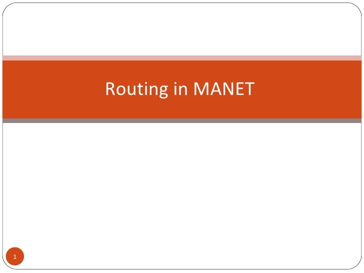Routing in MANET
