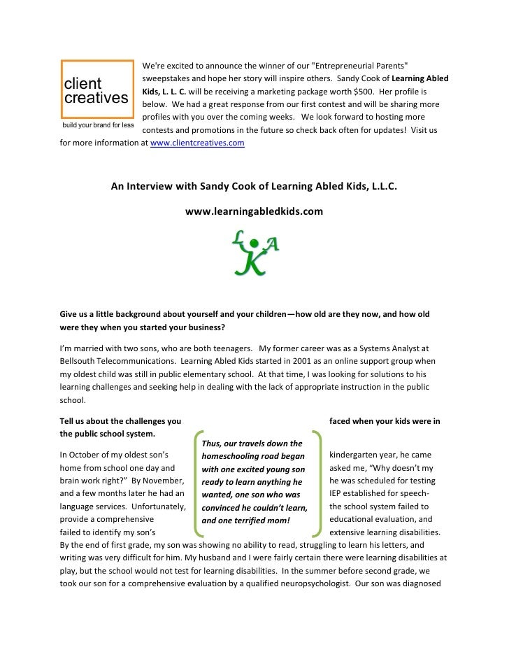 Interview with Sandy Cook of Learning Abled Kids