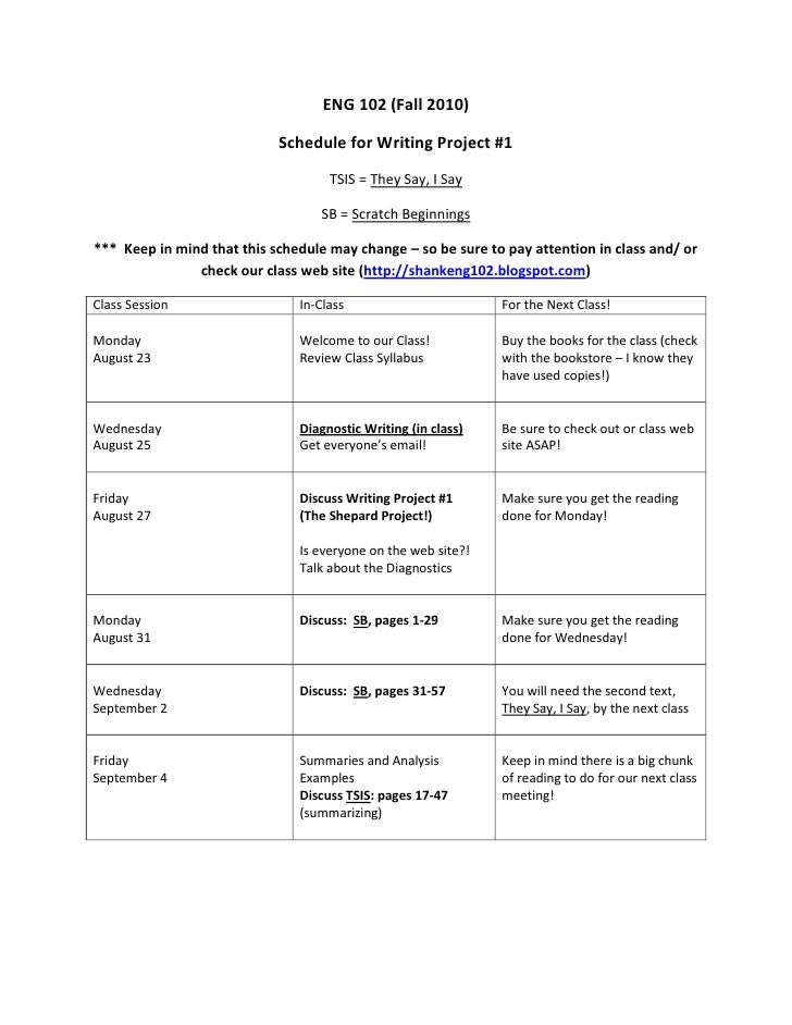 ENG 102 (Fall 2010)<br />Schedule for Writing Project #1<br />TSIS = They Say, I Say<br />SB = Scratch Beginnings<br />***...