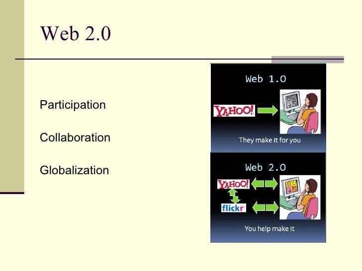 Web 2.0  <ul><li>Participation </li></ul><ul><li>Collaboration </li></ul><ul><li>Globalization </li></ul>