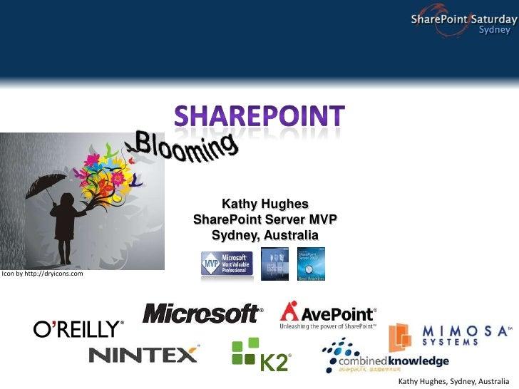 SharePoint<br />Kathy Hughes<br />SharePoint Server MVP<br />Sydney, Australia<br />Icon by http://dryicons.com<br />