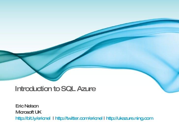 SQL Azure Overview for Bizspark day