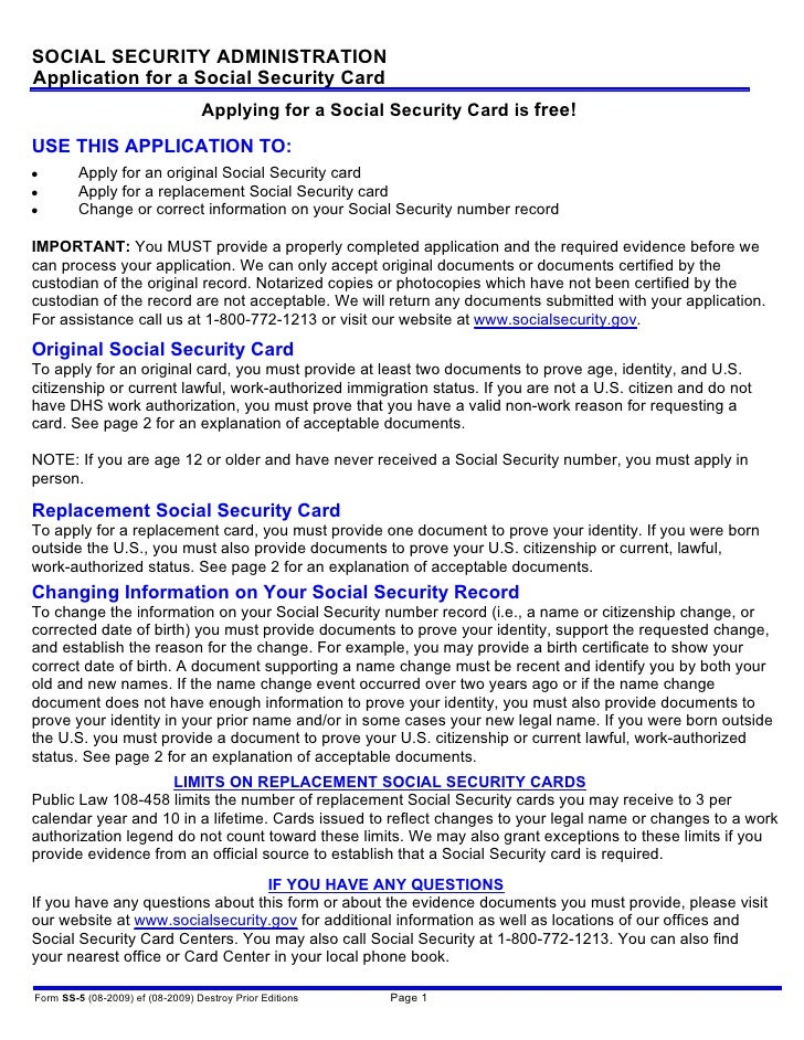 SOCIAL SECURITY ADMINISTRATION Application for a Social Security Card                                   Applying for a Soc...