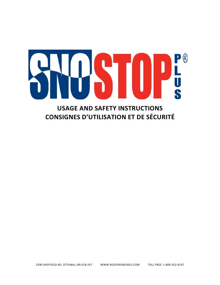 USAGE AND SAFETY INSTRUCTIONS       CONSIGNES D'UTILISATION ET DE SÉCURITÉ     2590 SHEFFIELD RD, OTTAWA, ON K1B 3V7   WWW...