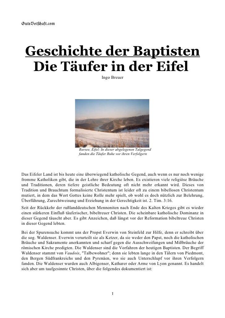 GuteBot[aft.$om       Geschichte der Baptisten    Die Täufer in der Eifel                                              Ing...