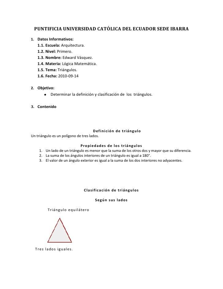 PUNTIFICIA UNIVERSIDAD CATÓLICA DEL ECUADOR SEDE IBARRA<br />Datos Informativos:<br />Escuela: Arquitectura.<br />Nivel: P...