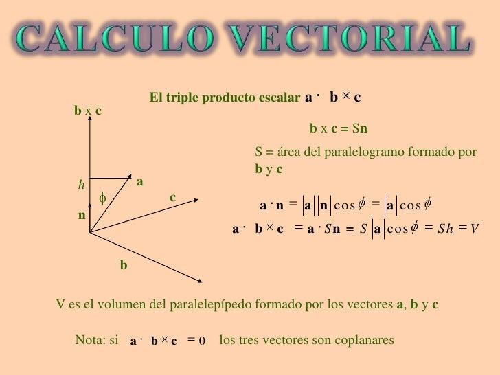 El triple producto escalar<br />Nota: si                             los tres vectores son coplanares<br />CALCULO VECTORI...