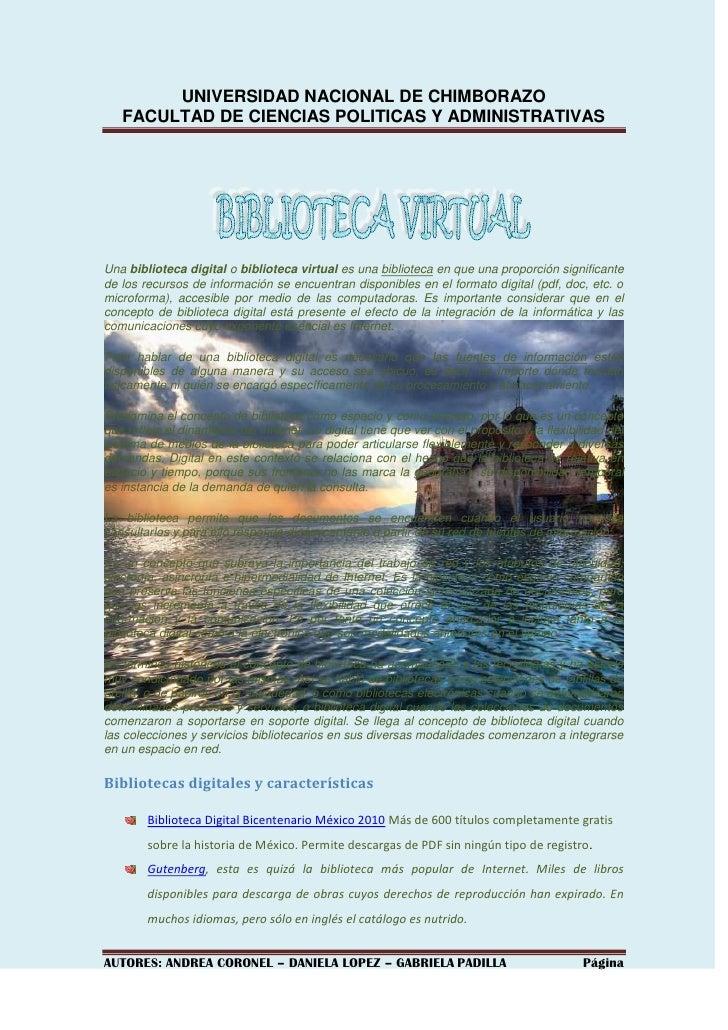 UNIVERSIDAD NACIONAL DE CHIMBORAZO<br />FACULTAD DE CIENCIAS POLITICAS Y ADMINISTRATIVAS<br />Una biblioteca digital o bib...