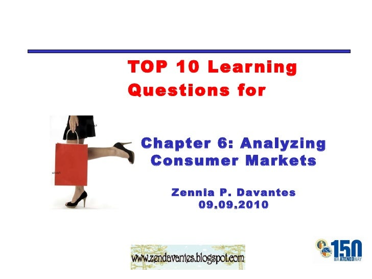 TOP 10 Learning Questions for Chapter 6: Analyzing Consumer Markets Zennia P. Davantes 09.23.2010