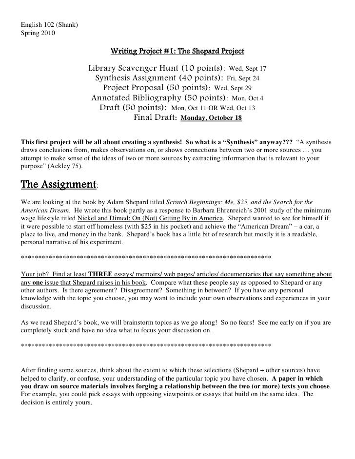 English 102 (Shank)<br />Spring 2010<br />Writing Project #1: The Shepard Project<br />Library Scavenger Hunt (10 points):...