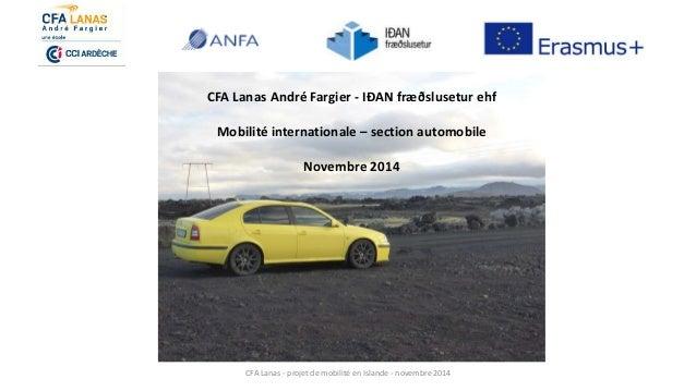 CFA Lanas - projet de mobilité en Islande - novembre 2014 CFA Lanas André Fargier - IÐAN fræðslusetur ehf Mobilité interna...