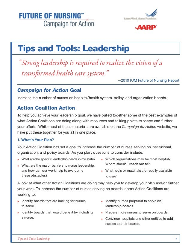 "Tips and Tools: Leadership ""Strong leadership is required to realize the vision of a transformed health care system.""  —20..."