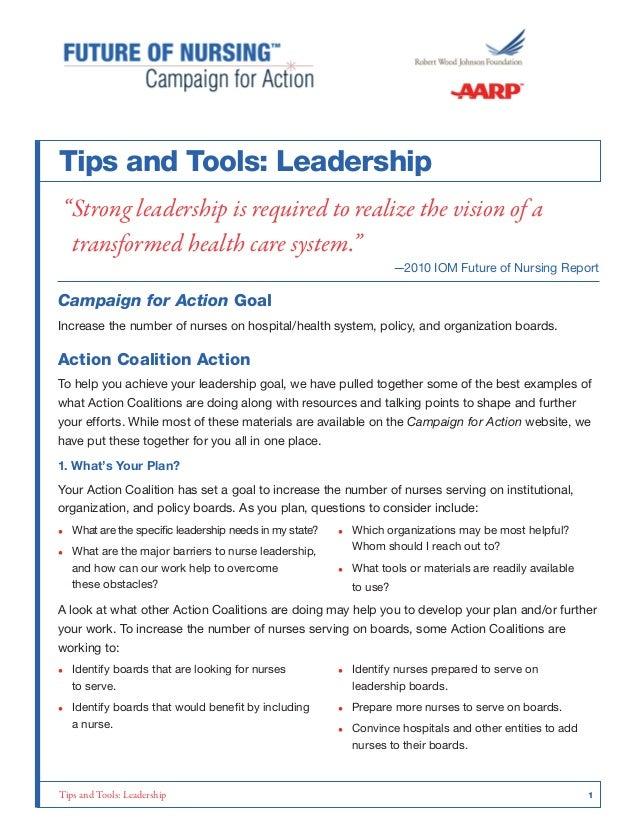 Tips and Tolls on Nursing Leadership