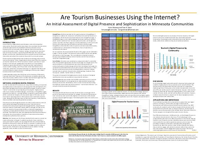 Are Tourism Businesses Using the Internet? An Initial Assessment of Digital Presence and Sophistication in Minnesota Communities