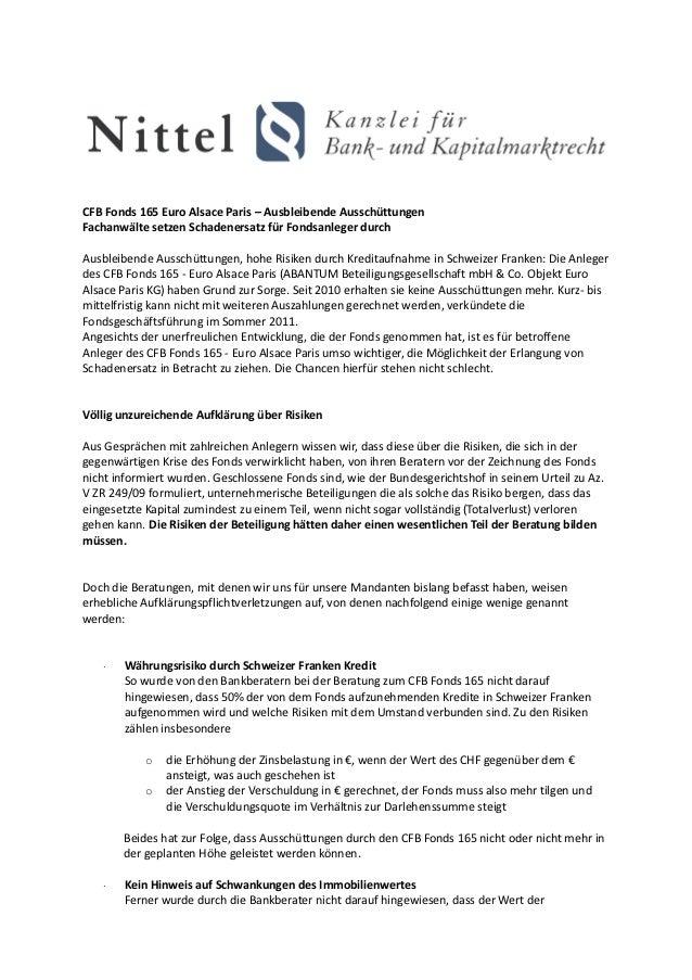 CFB Fonds 165 Euro Alsace Paris – Ausbleibende AusschüttungenFachanwälte setzen Schadenersatz für Fondsanleger durchAusble...