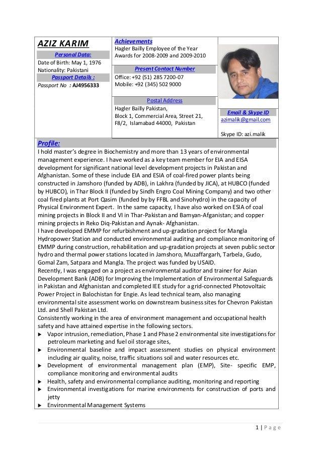 aziz karim environmental specialist resume