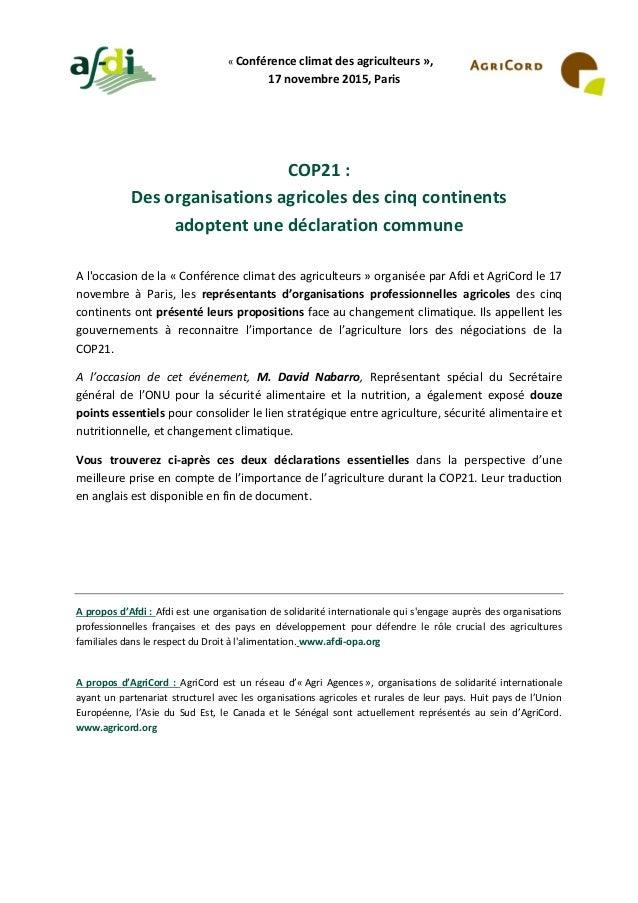 « Conférence climat des agriculteurs », 17 novembre 2015, Paris COP21 : Des organisations agricoles des cinq continents ad...