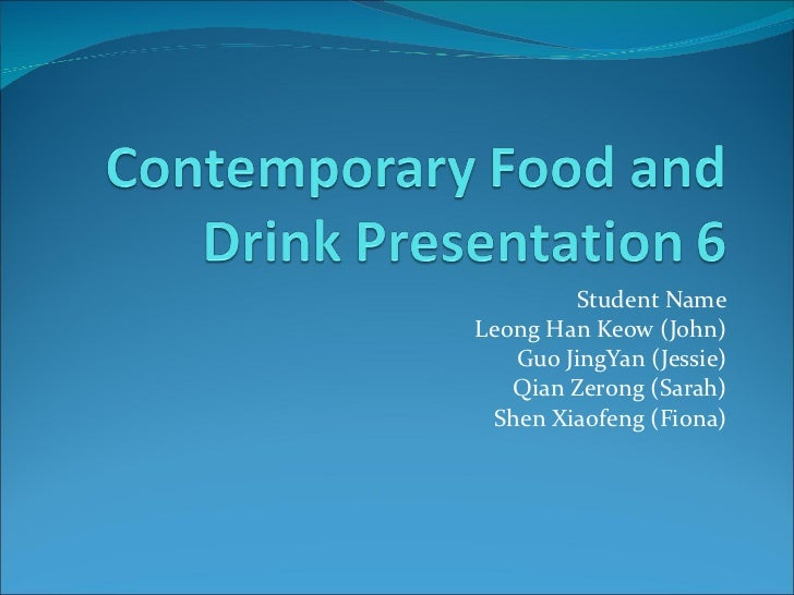 Contemporary Food and Drink ppt 6 - Restaurant Review