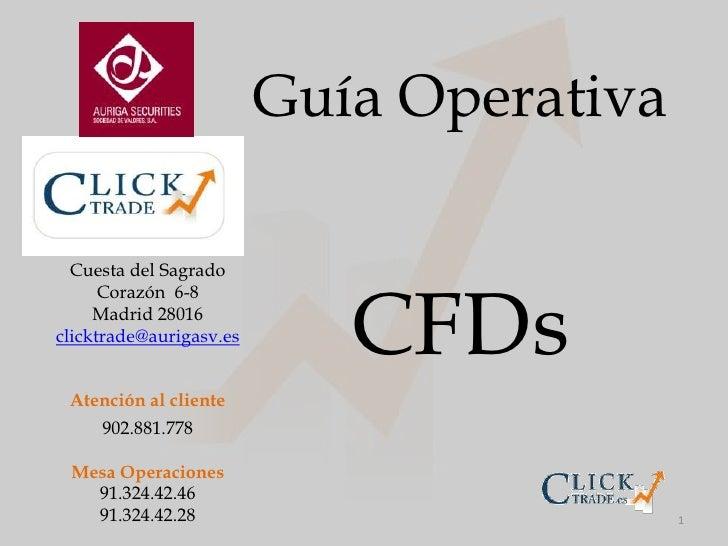 1<br />Guía Operativa<br />CFDs<br />Cuesta del Sagrado Corazón  6-8<br />Madrid 28016<br />clicktrade@aurigasv.es<br />At...