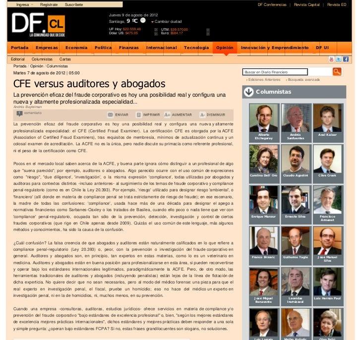 CFE versus auditores y abogados | Diario Financiero Online       Ingresa       Regístrate     Suscríbete                  ...