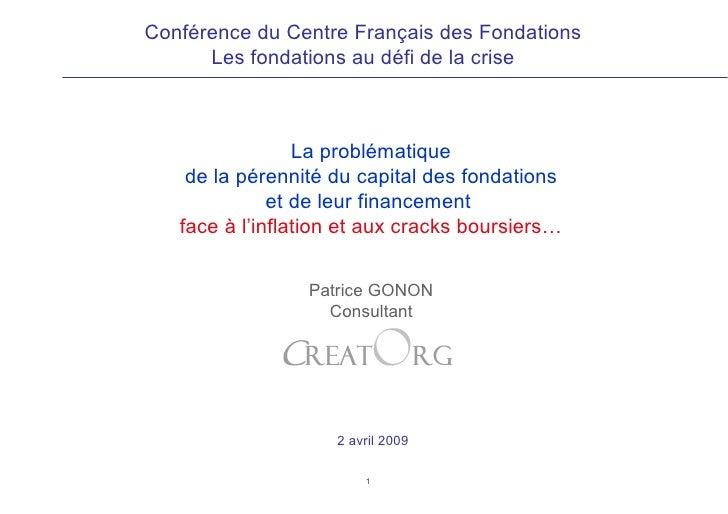 La problématique de la pérennité du capital des fondations et de leur financement  face à l'inflation et aux cracks boursi...