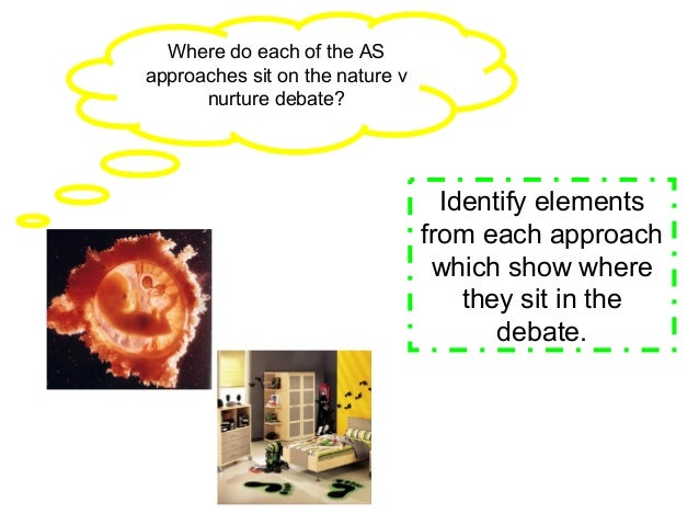 Where do each of the ASapproaches sit on the nature vnurture debate?Identify elementsfrom each approachwhich show wherethe...
