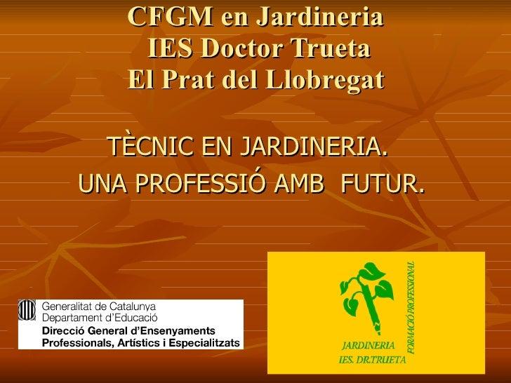 CFGM en Jardineria  IES Doctor Trueta El Prat del Llobregat <ul><li>TÈCNIC EN JARDINERIA.  </li></ul><ul><li>UNA PROFESSIÓ...