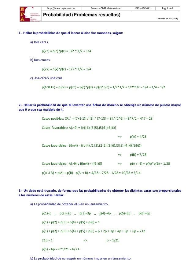 http://www.cepamarm.es  Acceso a CFGS Matemáticas  ESG - 05/2011  Pág. 1 de 8  Probabilidad (Problemas resueltos) (Basado ...