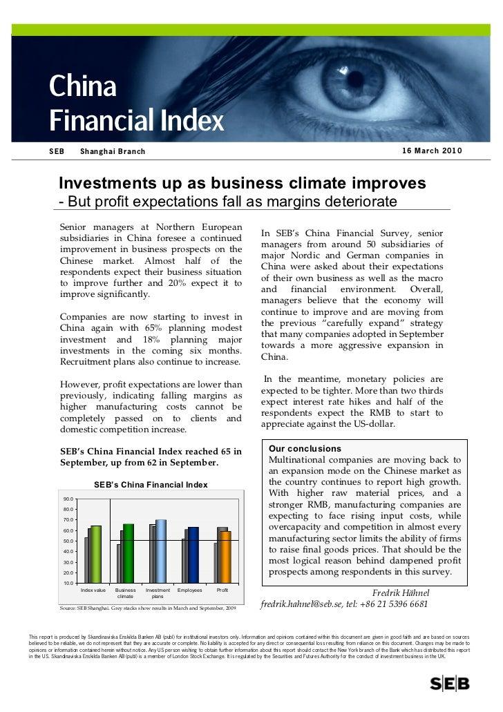 China          Financial Index          SEB           Shanghai Branch                                                     ...