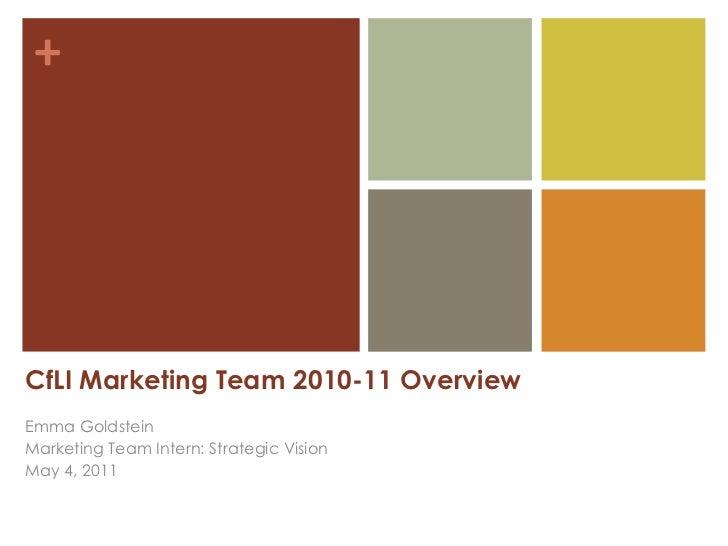 CfLI Marketing Team 2010-11 Overview Emma Goldstein Marketing Team Intern: Strategic Vision May 4, 2011
