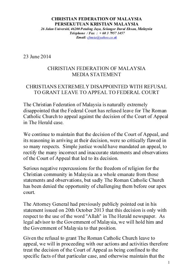 Cfm   media statement  - fed court decision 23 june 2014 - english final