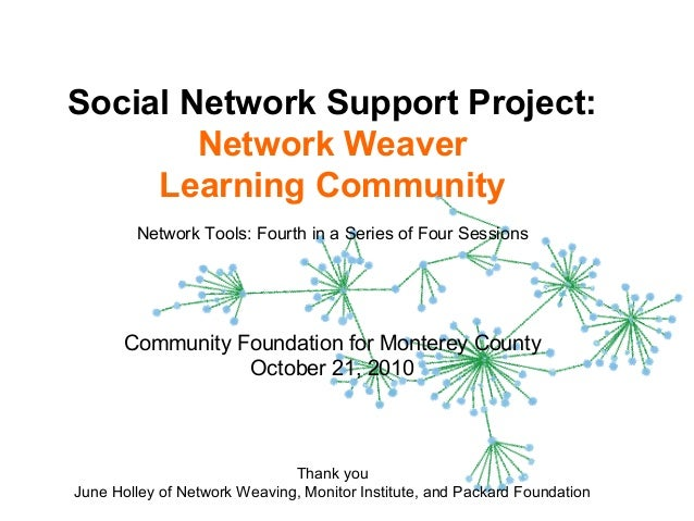 1 Social Network Support Project: Network Weaver Learning Community Network Tools: Fourth in a Series of Four Sessions Com...