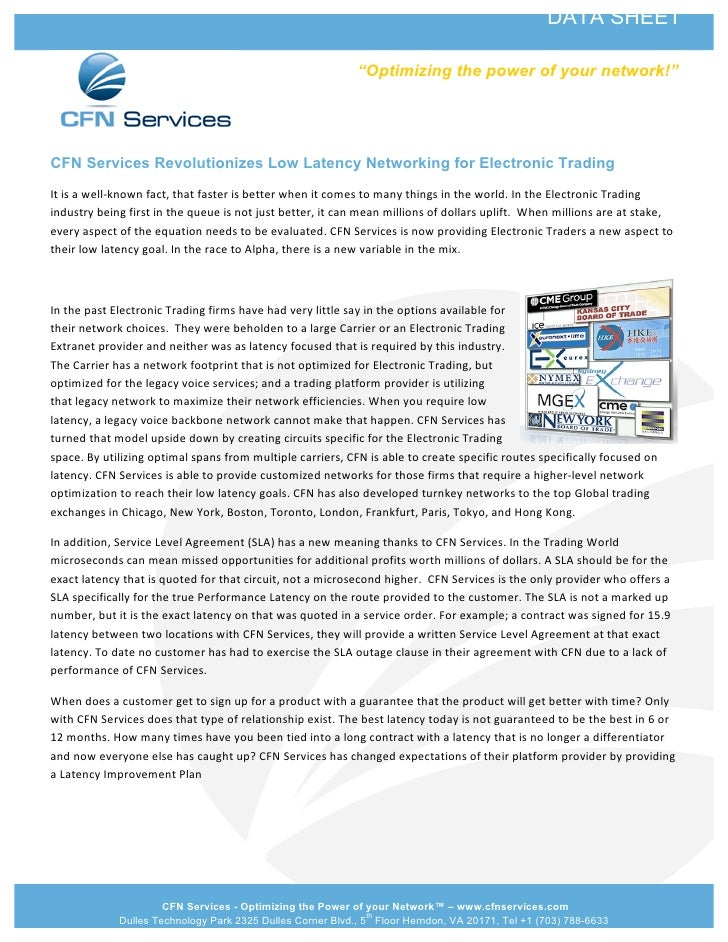 CFN Services Revolutionizes Low Latency Solutions