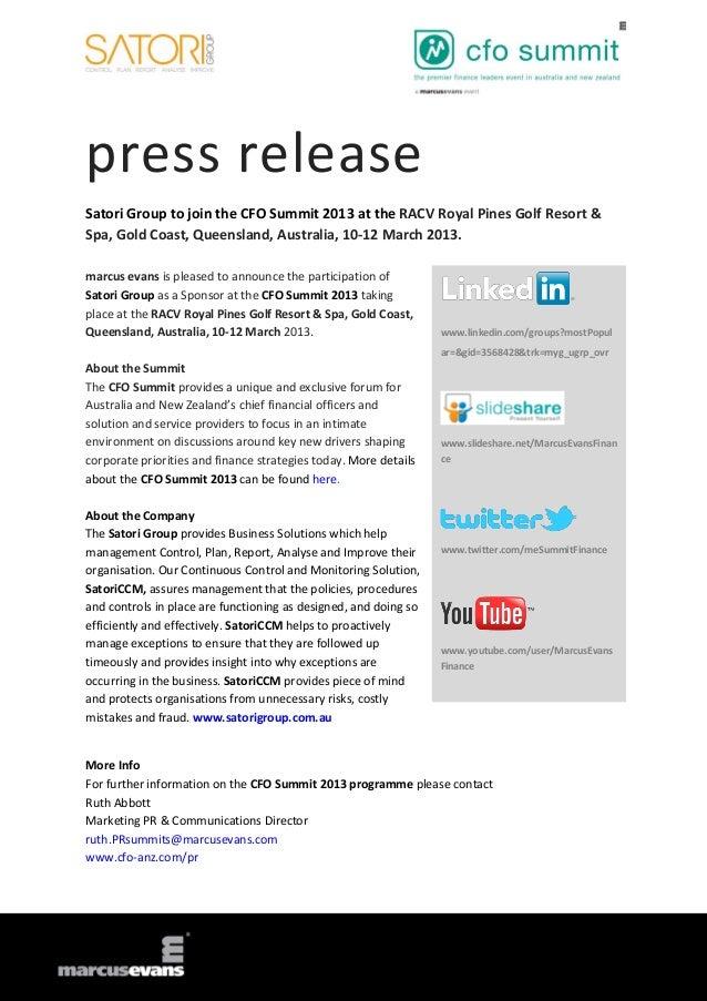 Satori Group to join the CFO Summit 2013