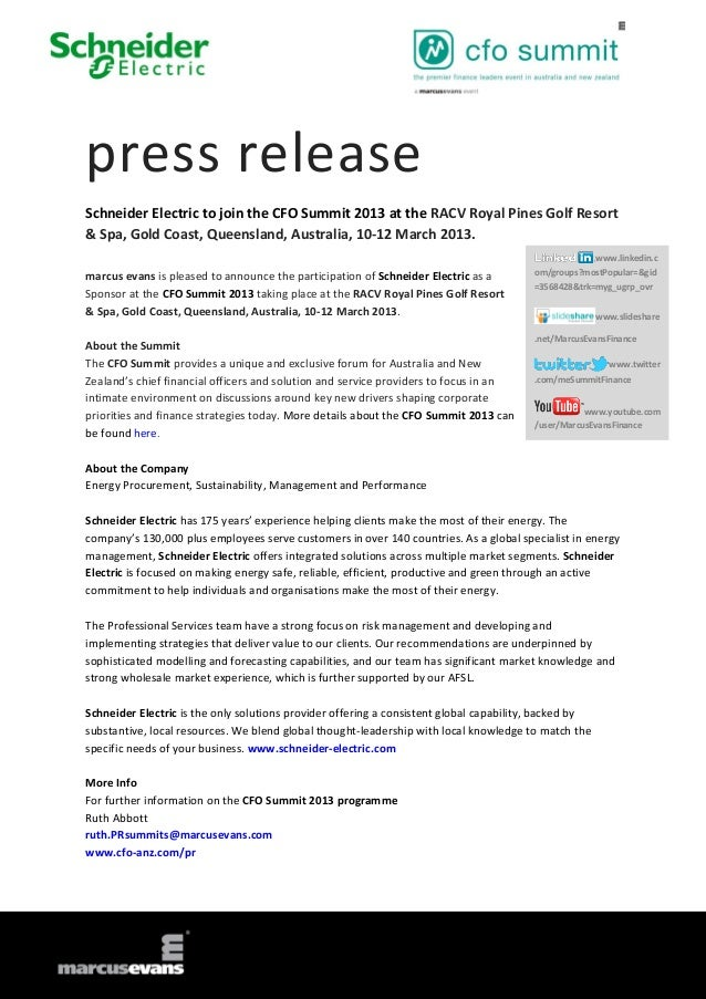 press releaseSchneider Electric to join the CFO Summit 2013 at the RACV Royal Pines Golf Resort& Spa, Gold Coast, Queensla...
