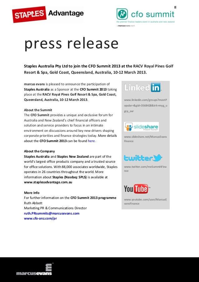 Staples Australia Pty Ltd to join the CFO Summit 2013