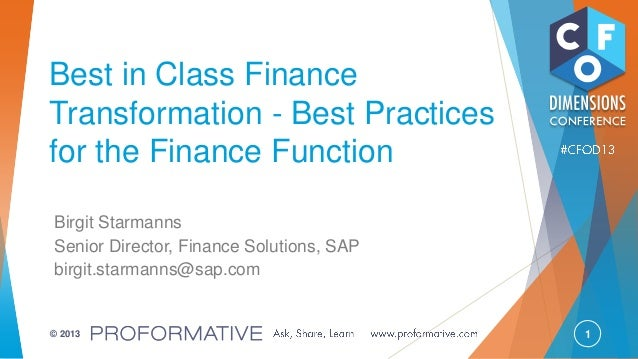Best in Class Finance Transformation - Best Practices for the Finance Function