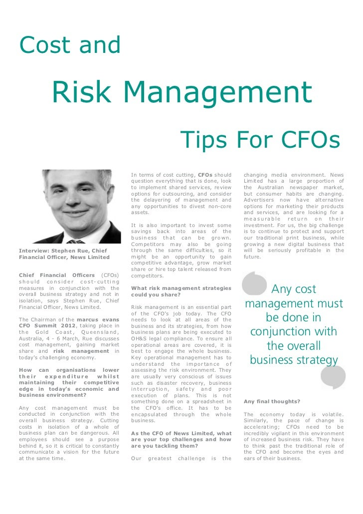 Cost and Risk Management Tips for CFOs