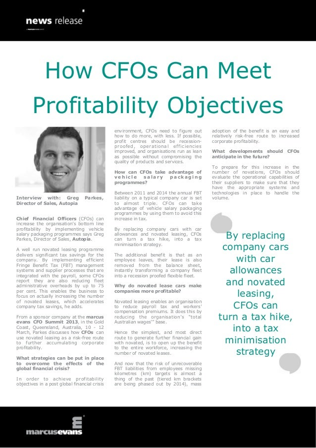 How CFOs Can Meet Profitability Objectives: Interview with: Greg Parkes, Director of Sales, Autopia