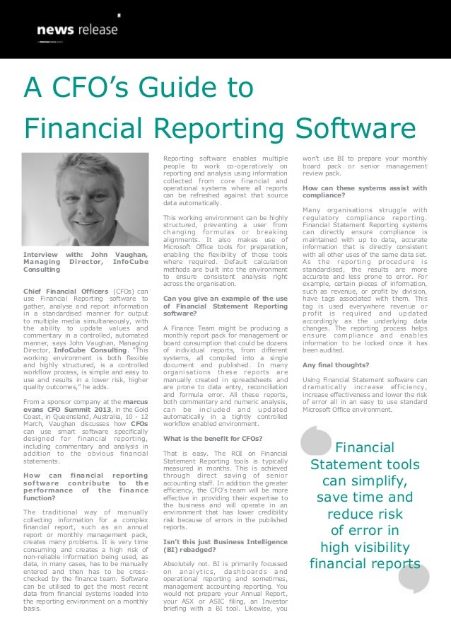 A CFO's Guide to Financial Reporting Software: Interview with: John Vaughan, Managing Director, InfoCube Consulting
