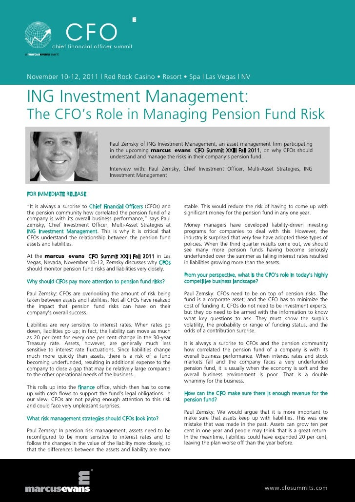 November 10-12, 2011 | Red Rock Casino • Resort • Spa | Las Vegas | NVING Investment Management:The CFO's Role in Managing...