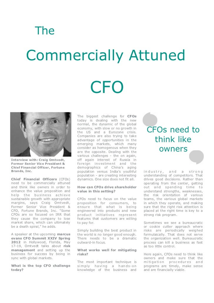 The Commercially Attuned CFO - Craig Omtvedt, Fortune Brands, Inc.