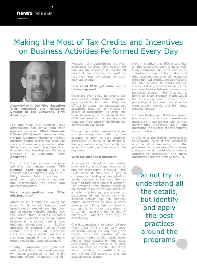 Making the Most of Tax Credits and Incentives on Business Activities Performed Every Day - Dan Filby, First Advantage