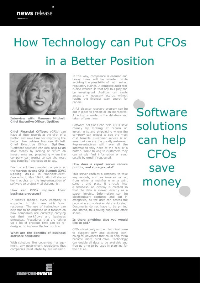 How Technology can Put CFOs in a Better Position - Maureen Mitchell, OptiDoc